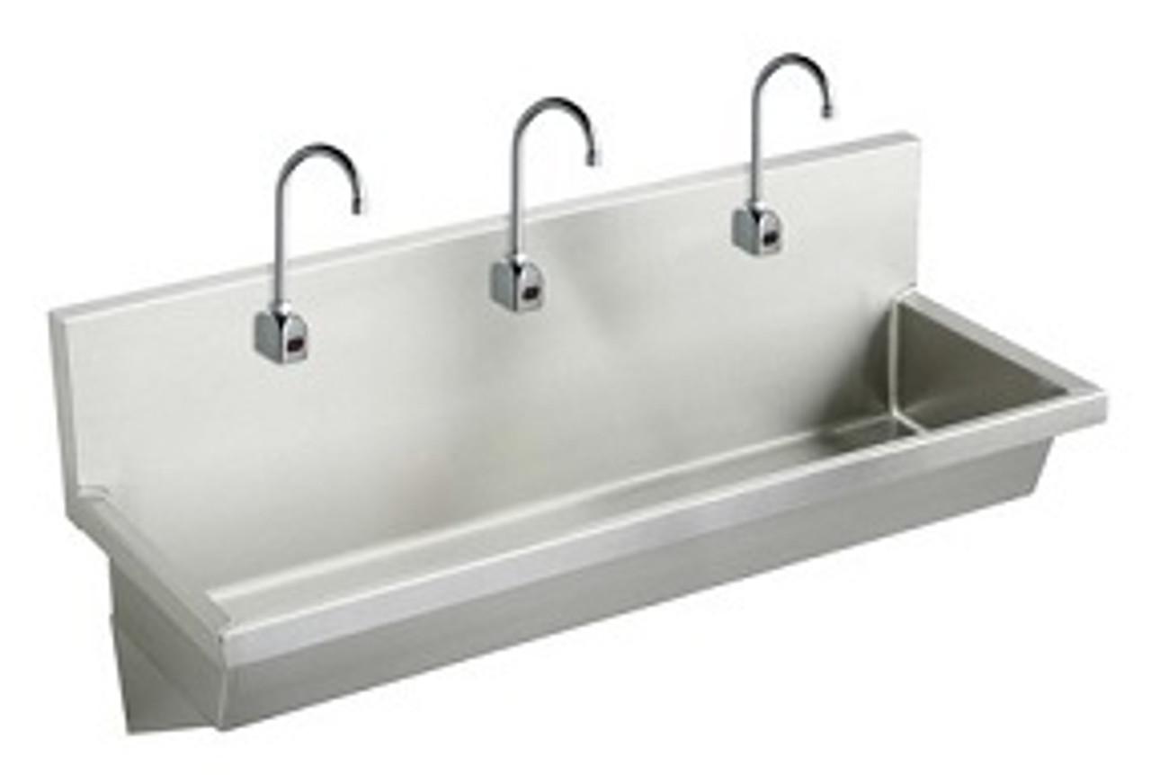 elkay ewma7220sactmc three station wash sink sensor faucet package thermostatic mixing valve 72 x 20 x 8 trough sink