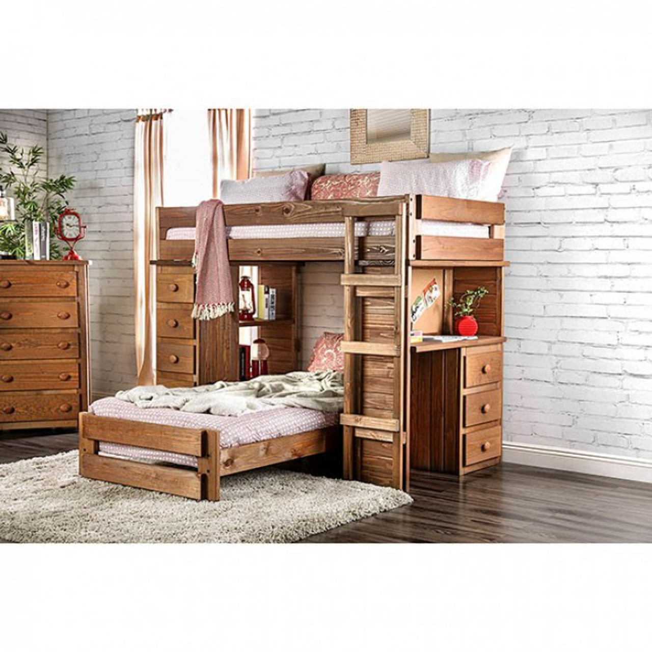 beckford twin loft bed with desk and chest