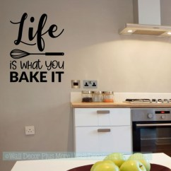 Kitchen Art Decor Interior Design Wall Life Is What You Bake It Vinyl Lettering Stickers Black