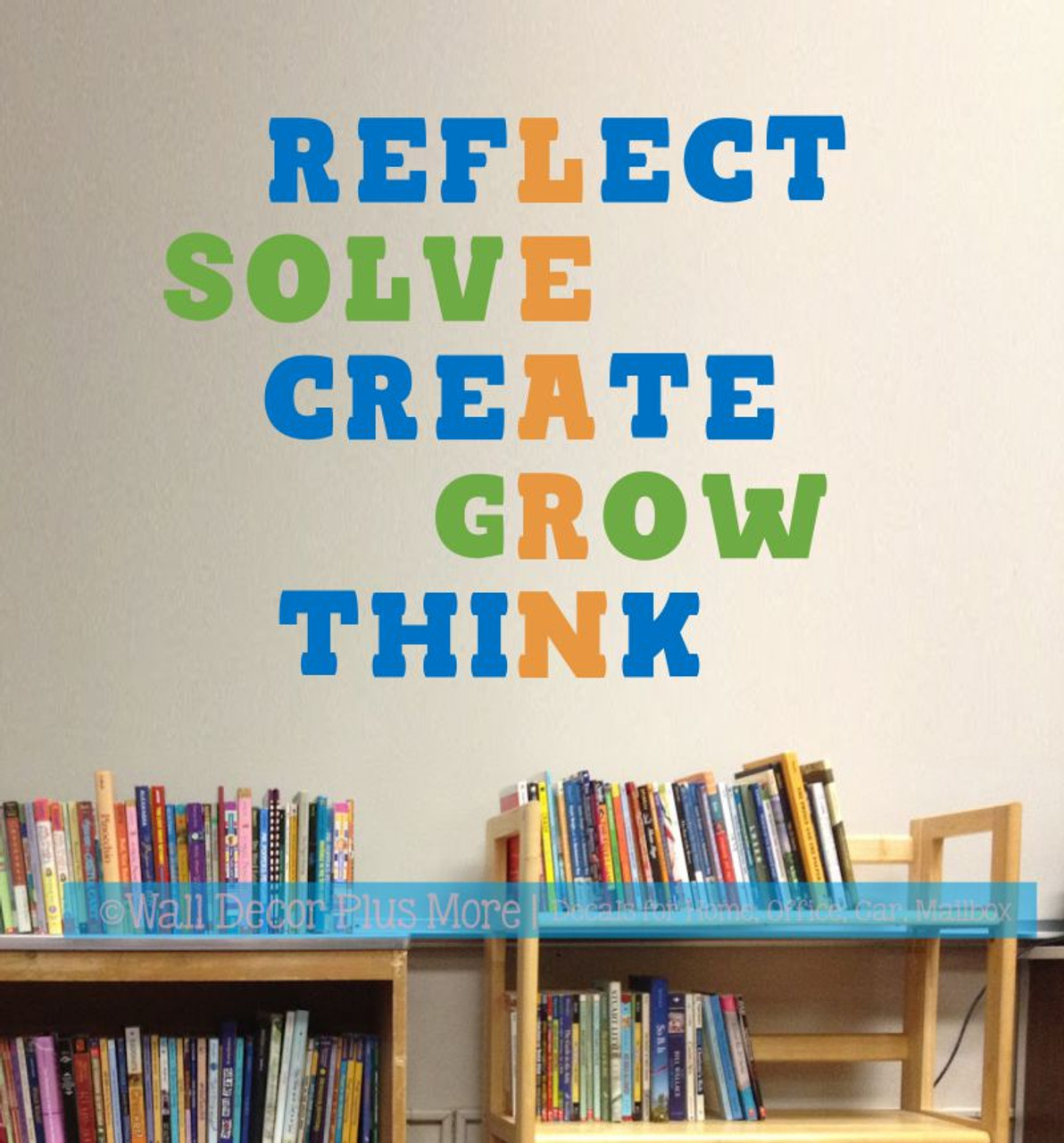 School Classroom Wall Decoration Decal Learn Grow Solve