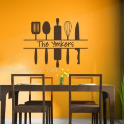 Kitchen Wall Art Retro Table Personalized Custom Name With Utensils Decal Sticker Chocolate