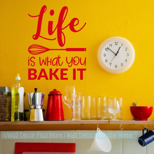 pictures for kitchen wall stainless steel trash can art decor life is what you bake it vinyl lettering stickers cherry red