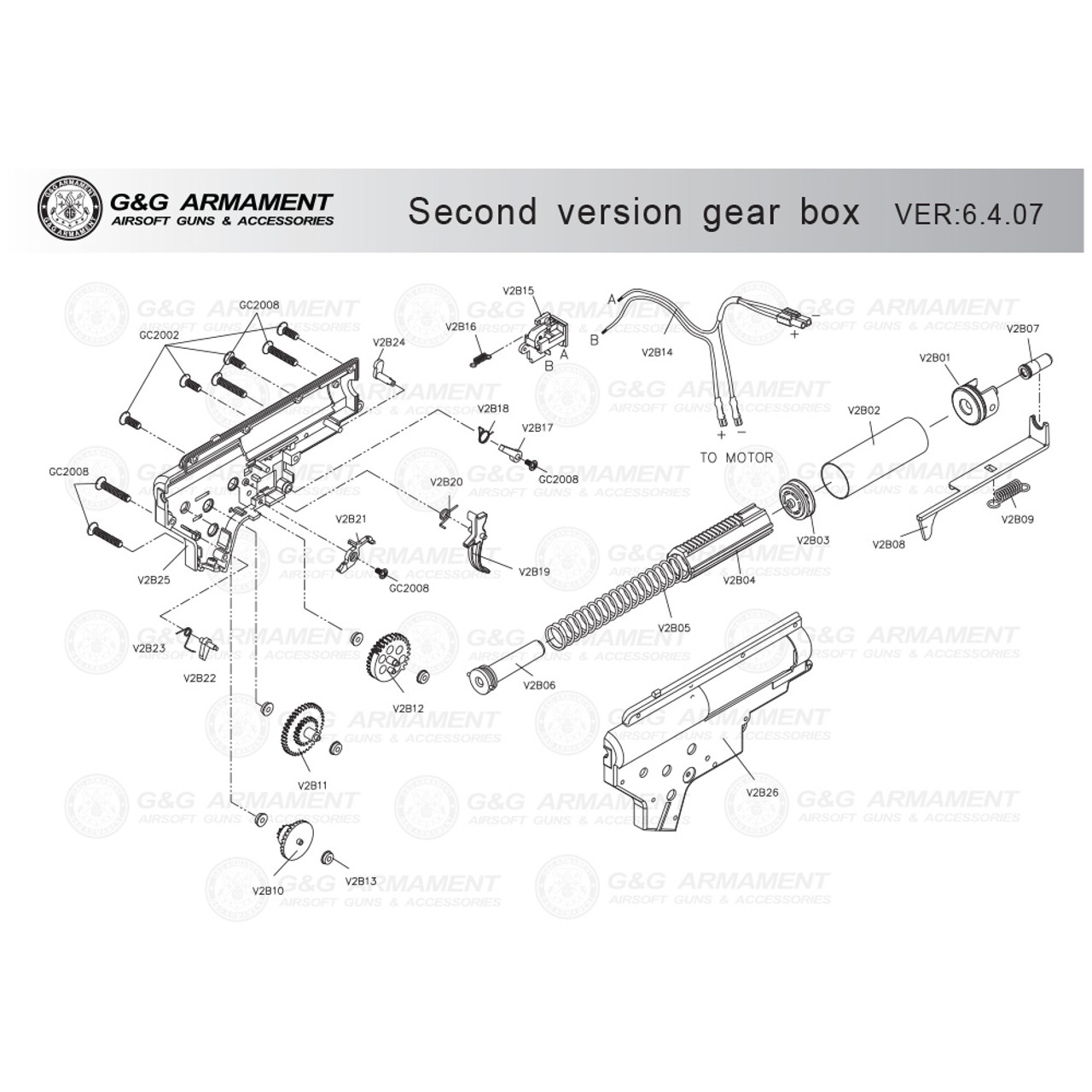 g g airsoft second version gearbox diagram [ 1000 x 1000 Pixel ]