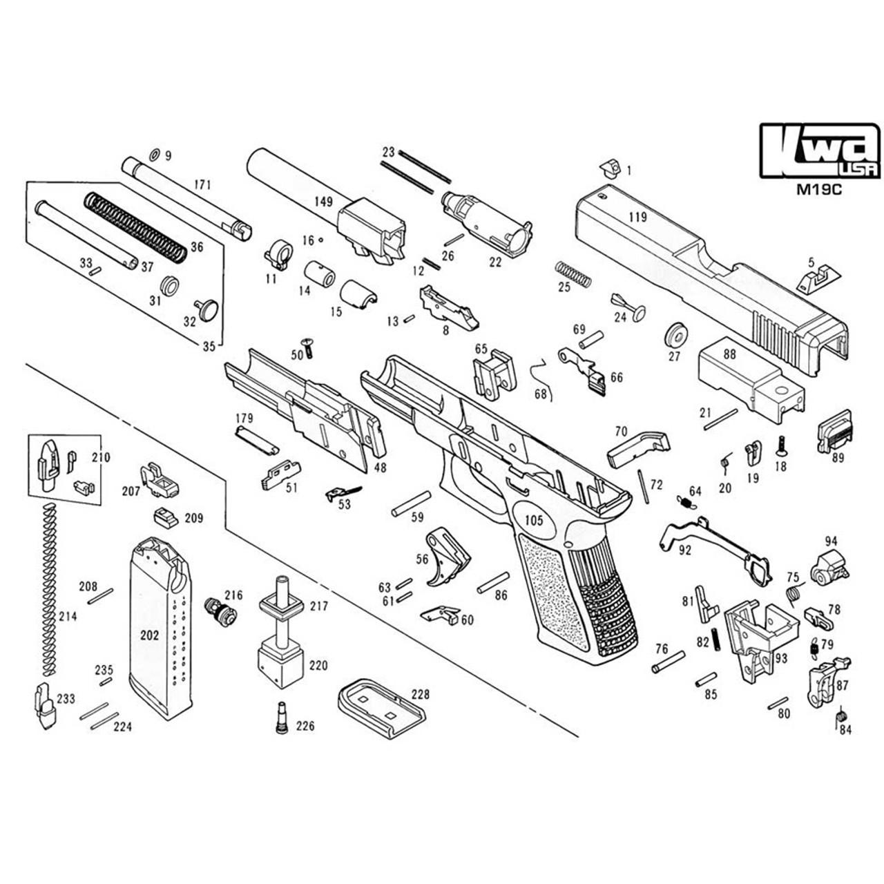 kwa airsoft m19c pistol diagram [ 1000 x 1000 Pixel ]
