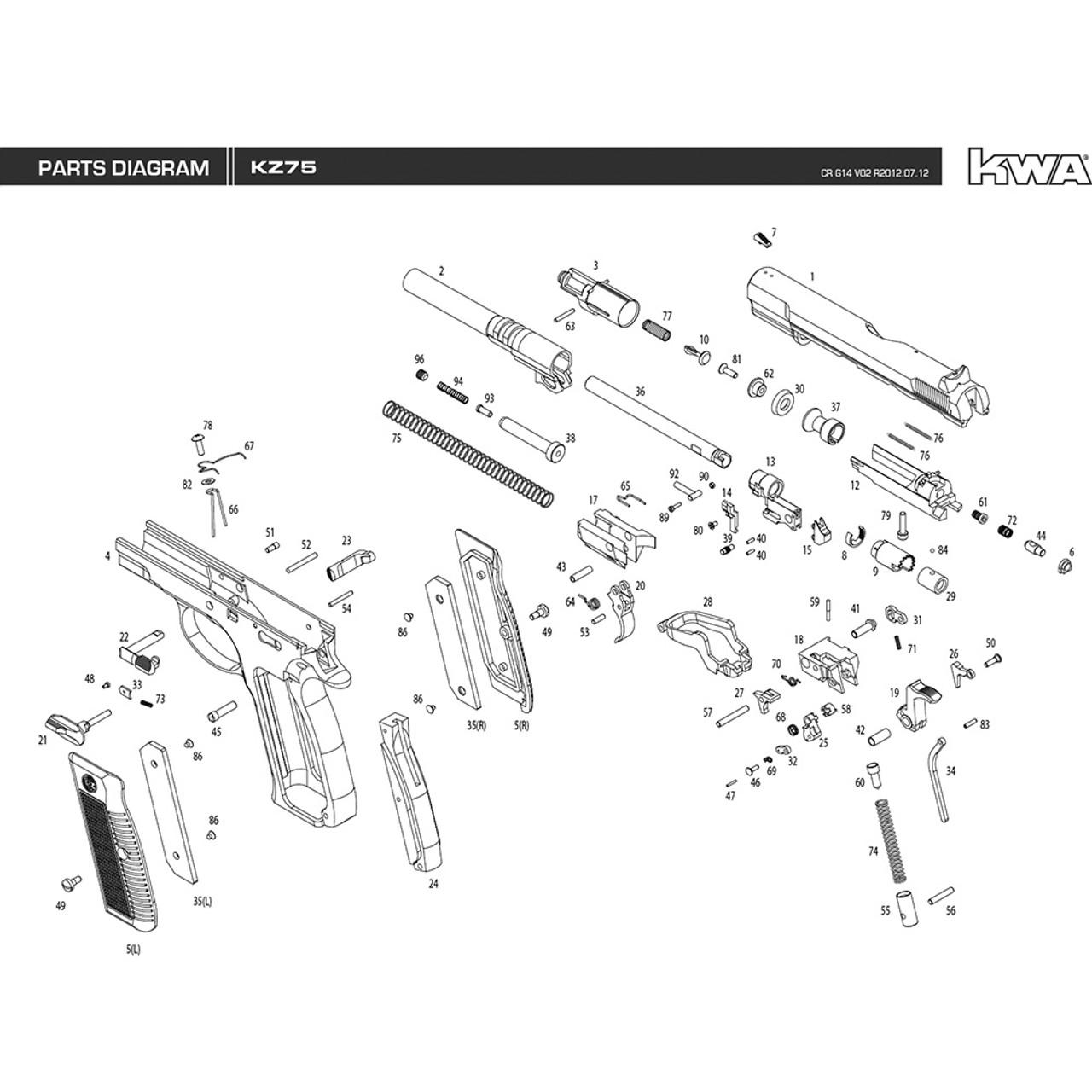 kwa airsoft kz75 pistol diagram [ 1280 x 1280 Pixel ]