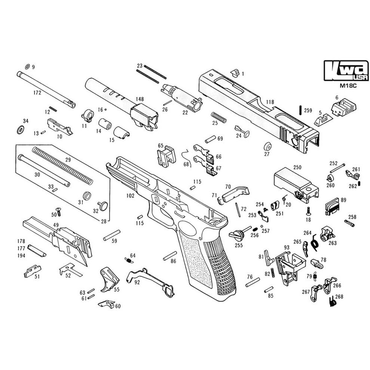 kwa airsoft m18c pistol diagram [ 1000 x 1000 Pixel ]