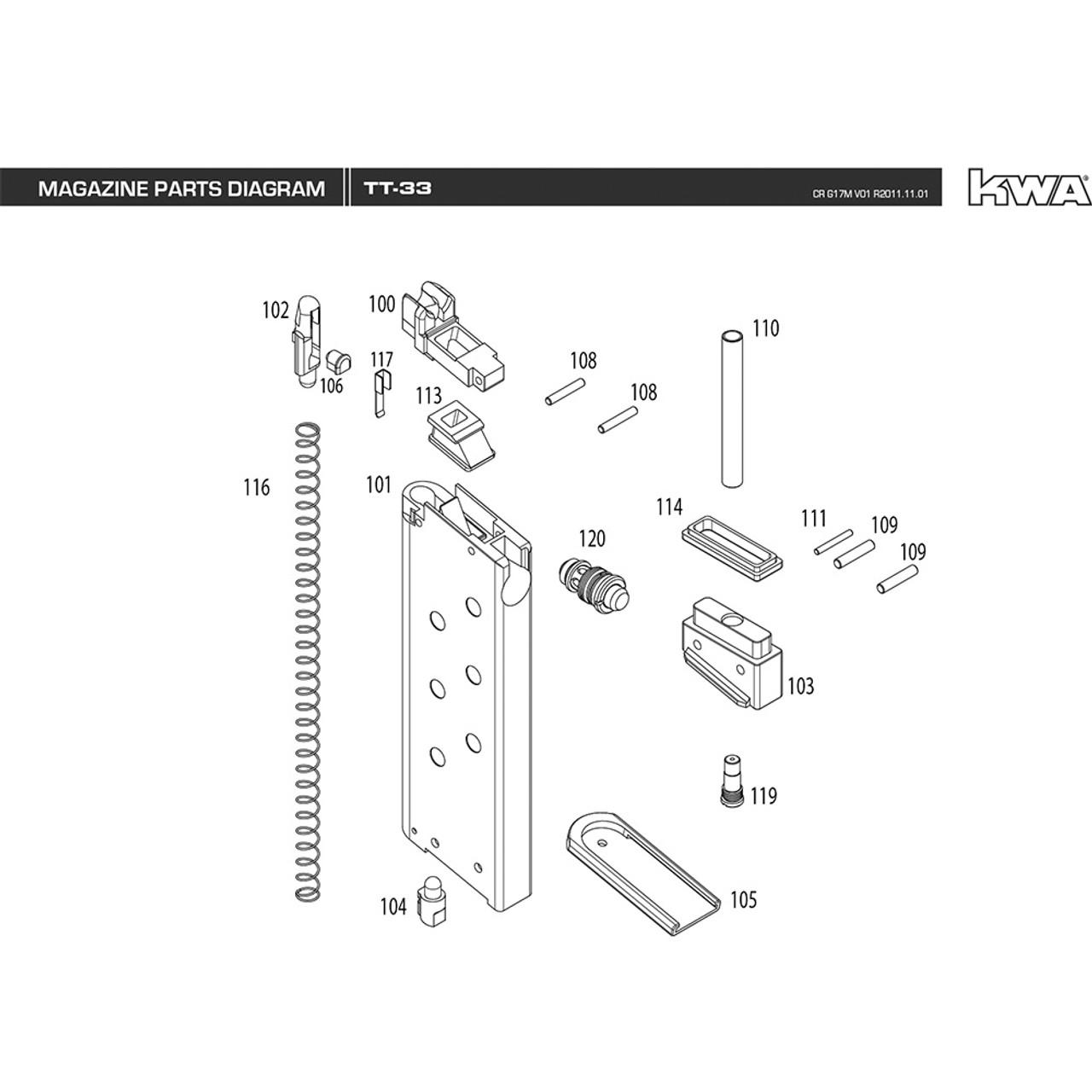 hight resolution of kwa airsoft tt 33 magazine diagram