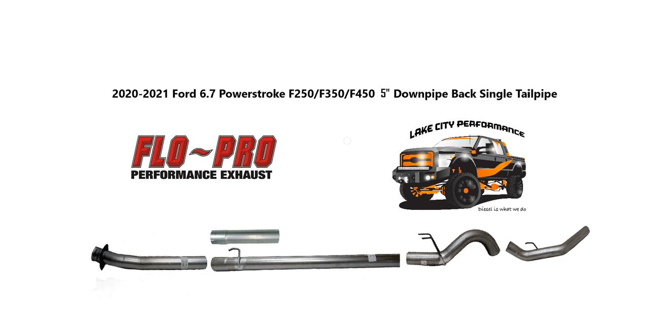 2020 2021 6 7l f250 f350 f450 f550 flo pro 5 aluminized downpipe back full race exhaust no muffler