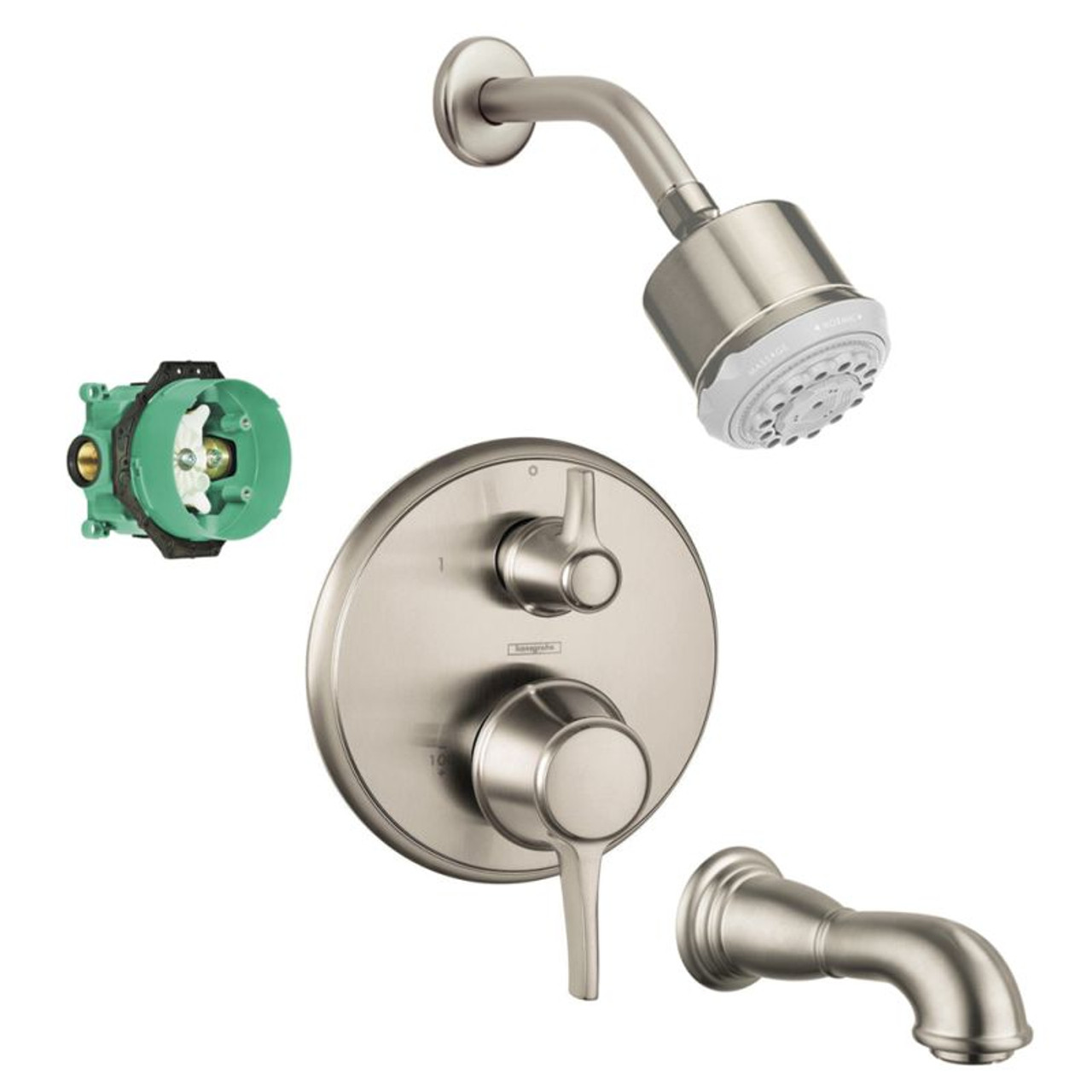 Hansgrohe Kst04449 28496 88bn Clubmaster Shower Faucet Kit With Tub Spout Pvb Trim Diverter And Rough In