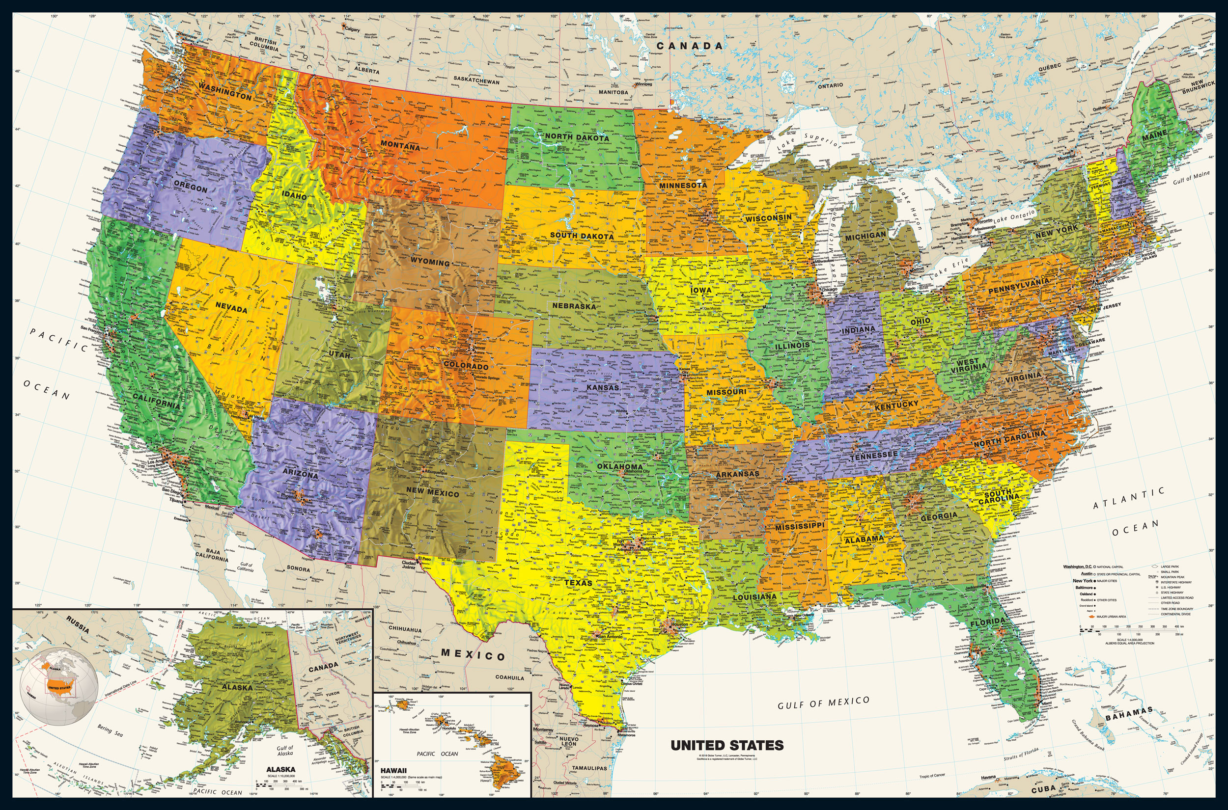 Black and white map of the united states, hd printable version. Contemporary Usa Wall Map