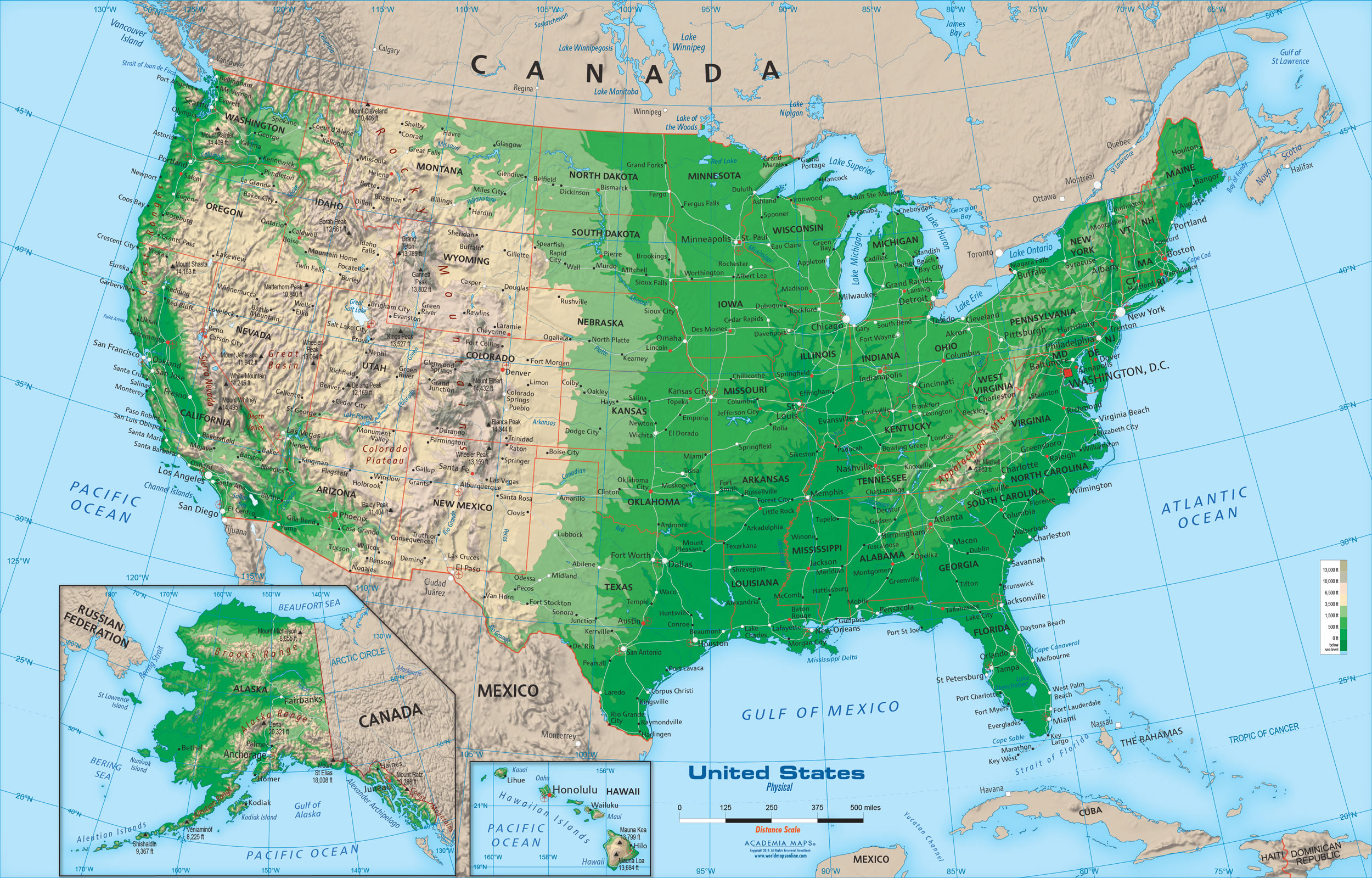 The southeast united states has a unique backdrop and history. United States Physical Map Wall Mural From Academia