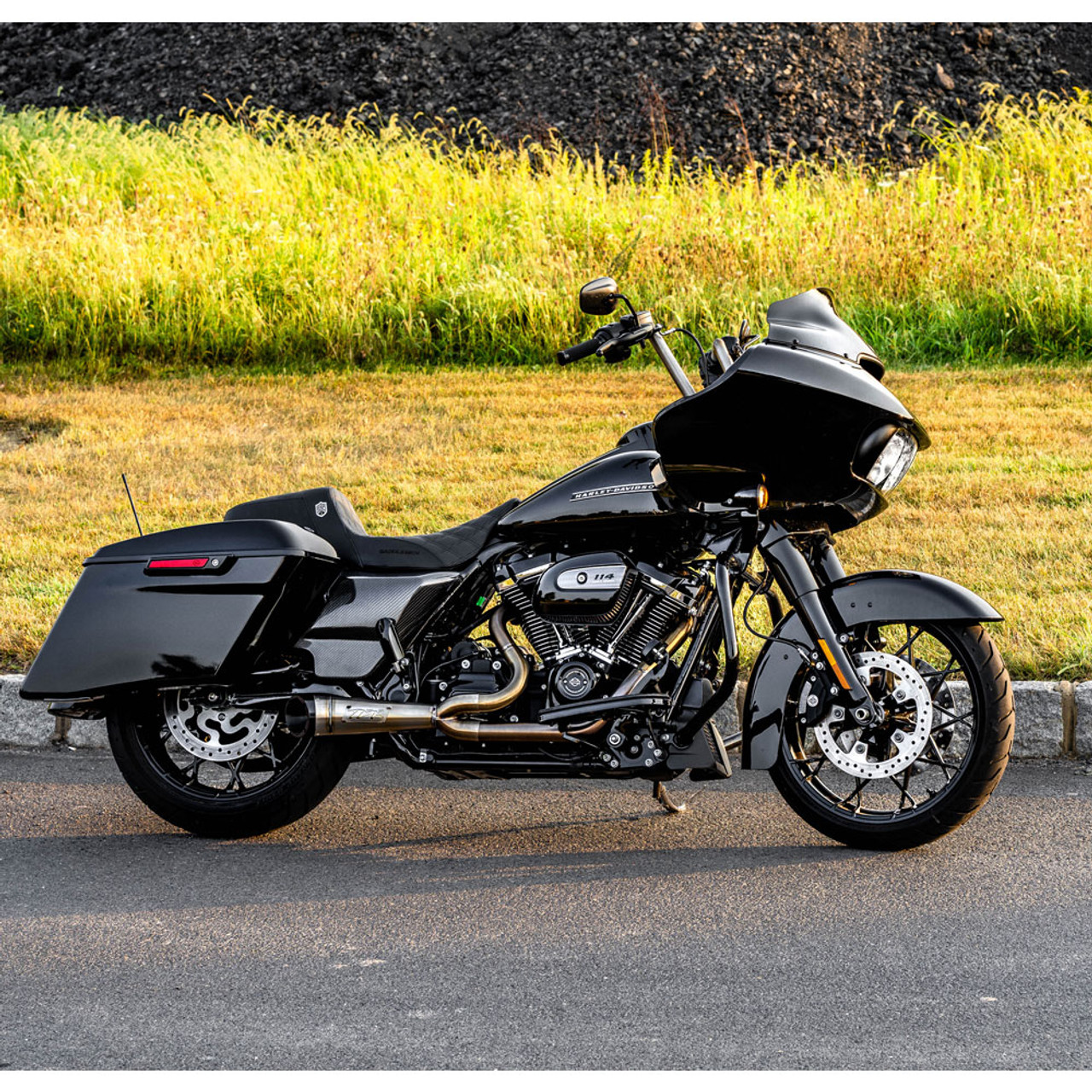 two brothers racing 2 into 1 shorty turnout exhaust for 2017 2020 harley touring stainless