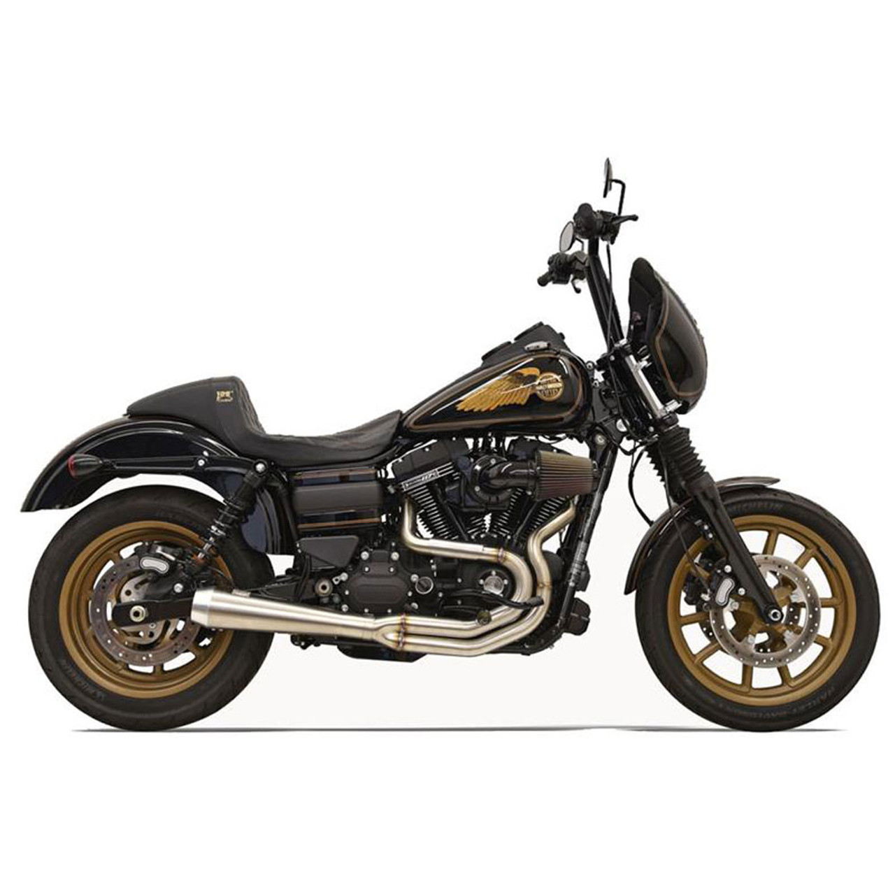 bassani greg lutzka 2 into 1 stainless exhaust for 1991 2017 harley dyna  [ 1000 x 1000 Pixel ]