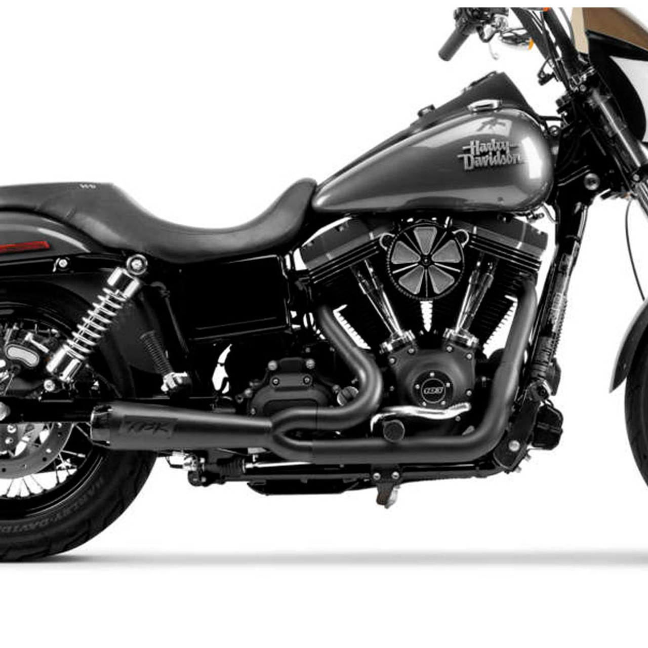 two brothers racing 2 into 1 comp s exhaust for 2006 2017 harley dyna black with carbon fiber tip