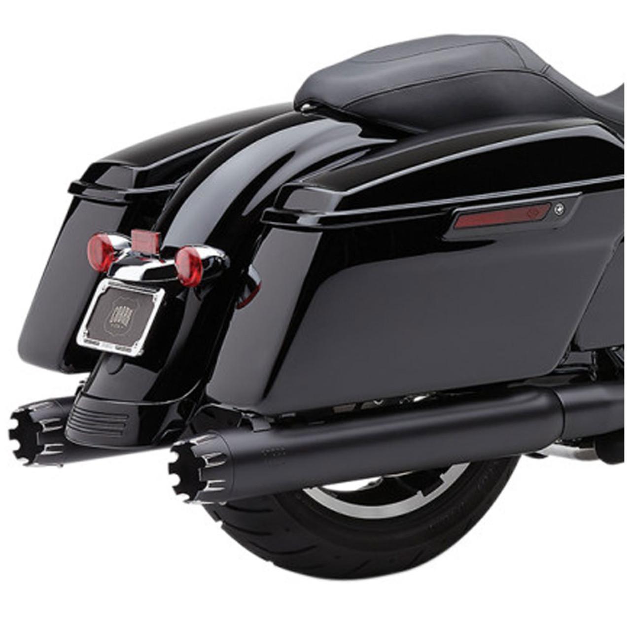 cobra 4 slip on exhaust mufflers for 1999 2016 harley touring black w dual cut machined tip