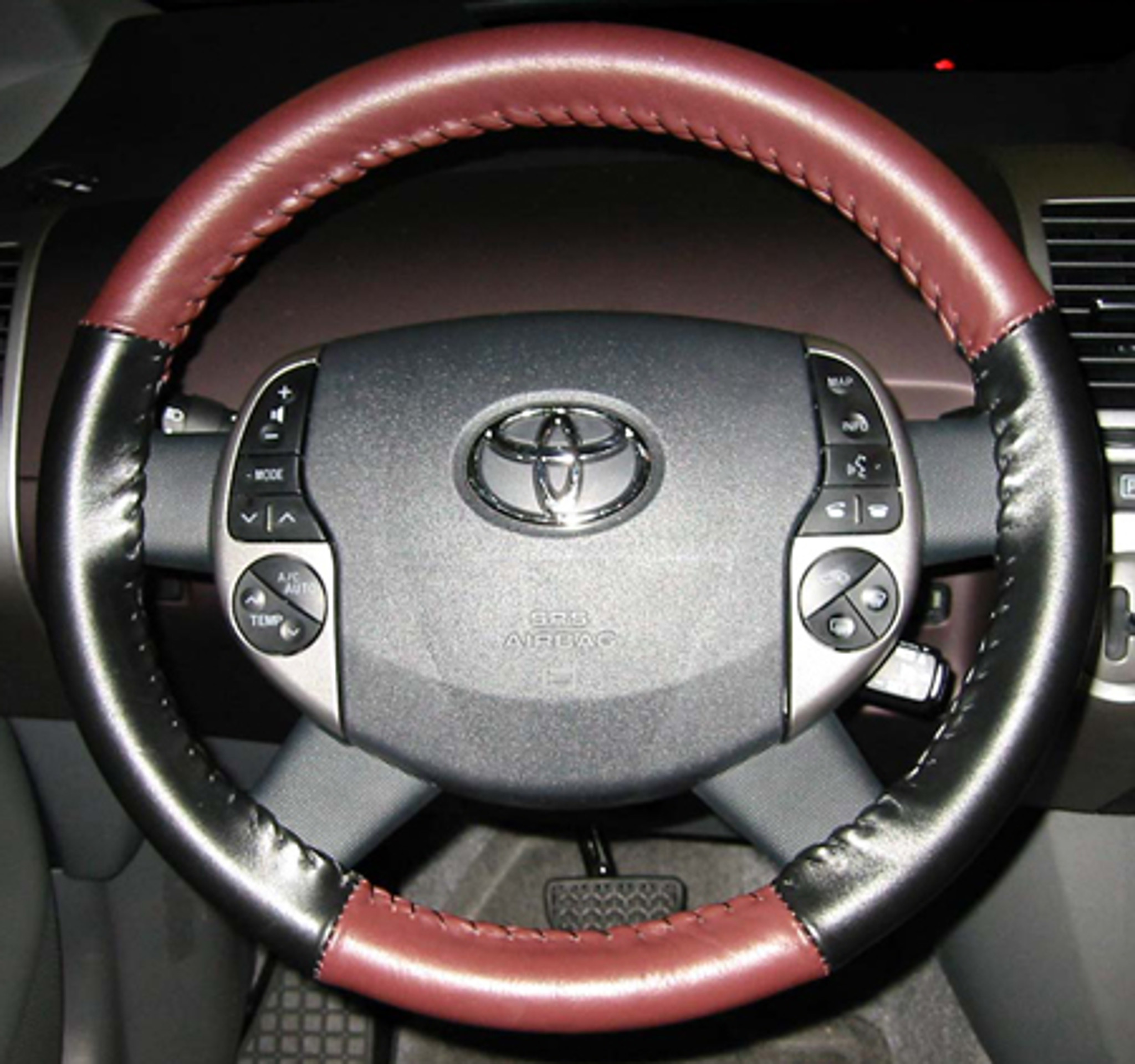 wheelskins eurotone two color genuine leather steering wheel cover for 2012 2015 toyota prius c [ 2048 x 1921 Pixel ]