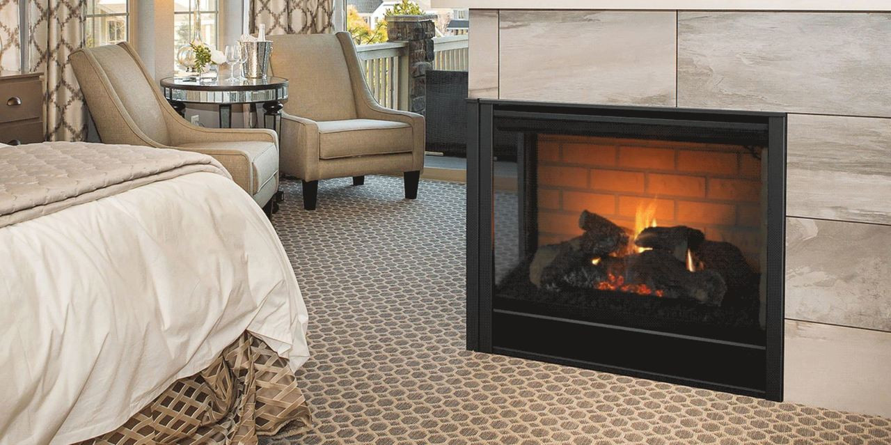 majestic corner 36 right corner direct vent multi side top rear gas fireplace with [ 1280 x 639 Pixel ]