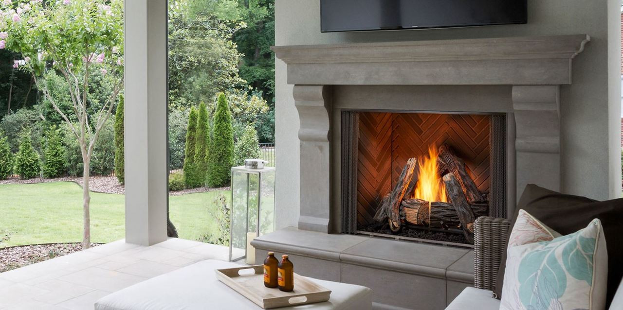 majestic courtyard 42 outdoor traditional fireplace with intellifire ignition [ 1280 x 638 Pixel ]