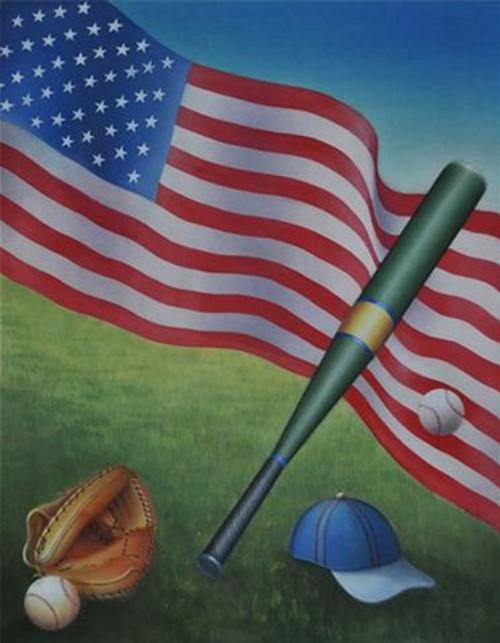 american flag with baseball