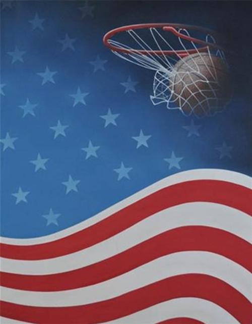 american flag and basketball