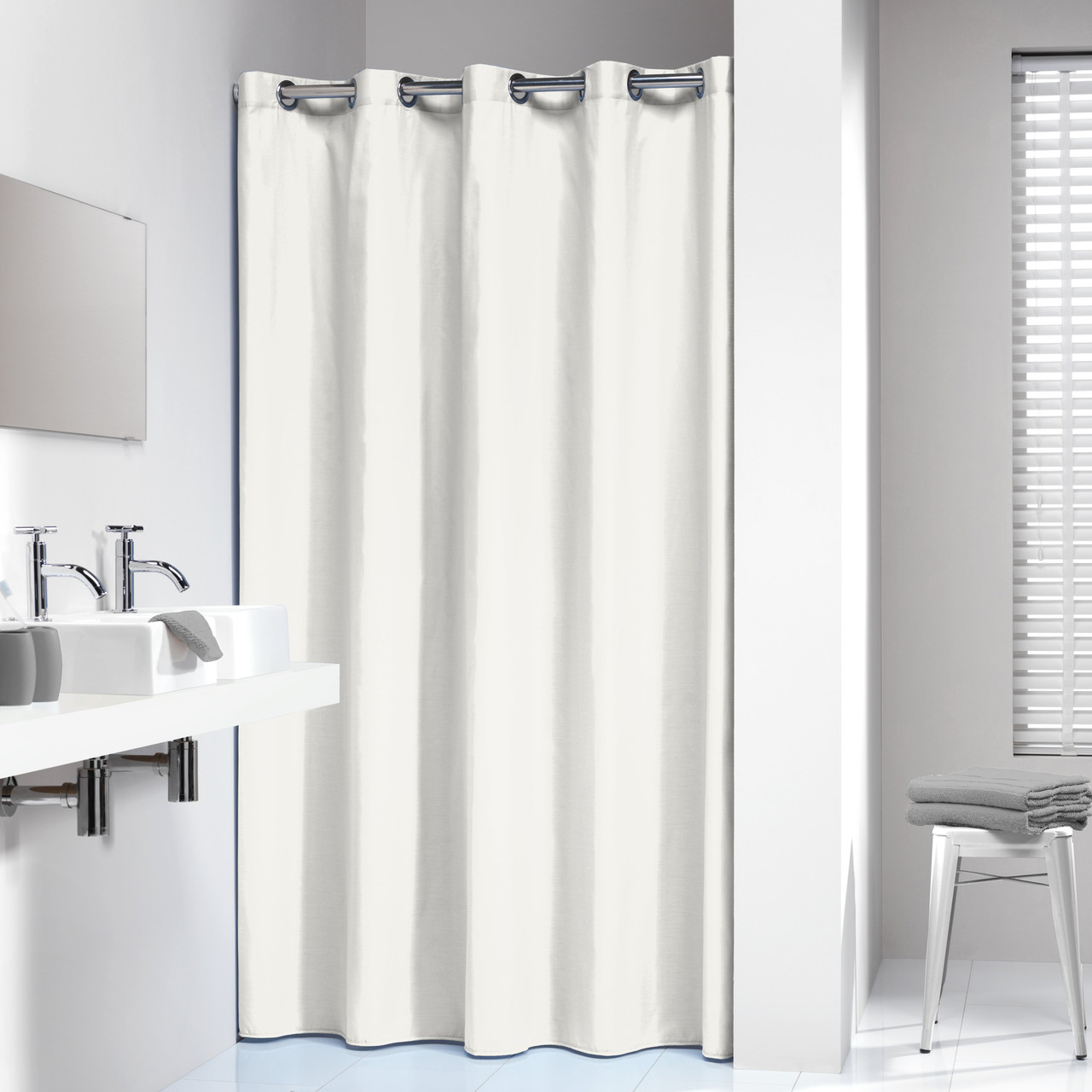 extra long hookless shower curtain 72 x 78 inch sealskin coloris off white cotton