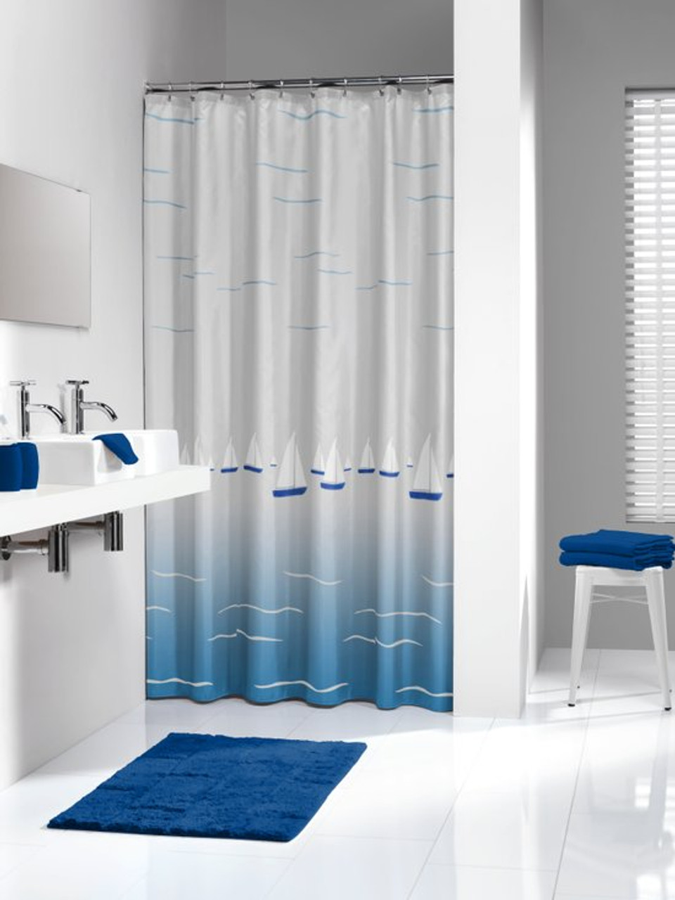 extra long shower curtain 72 x 78 inch sealskin barca boat blue and white peva