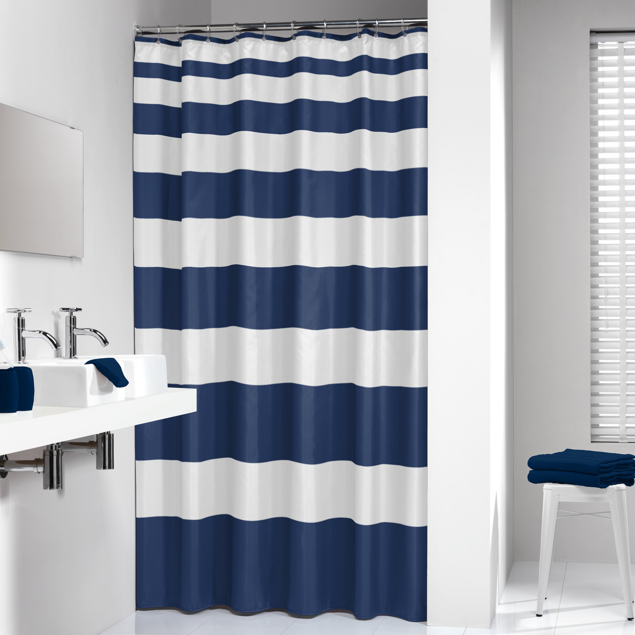 extra long shower curtain 72 x 78 inch sealskin nautica stripes blue and white fabric