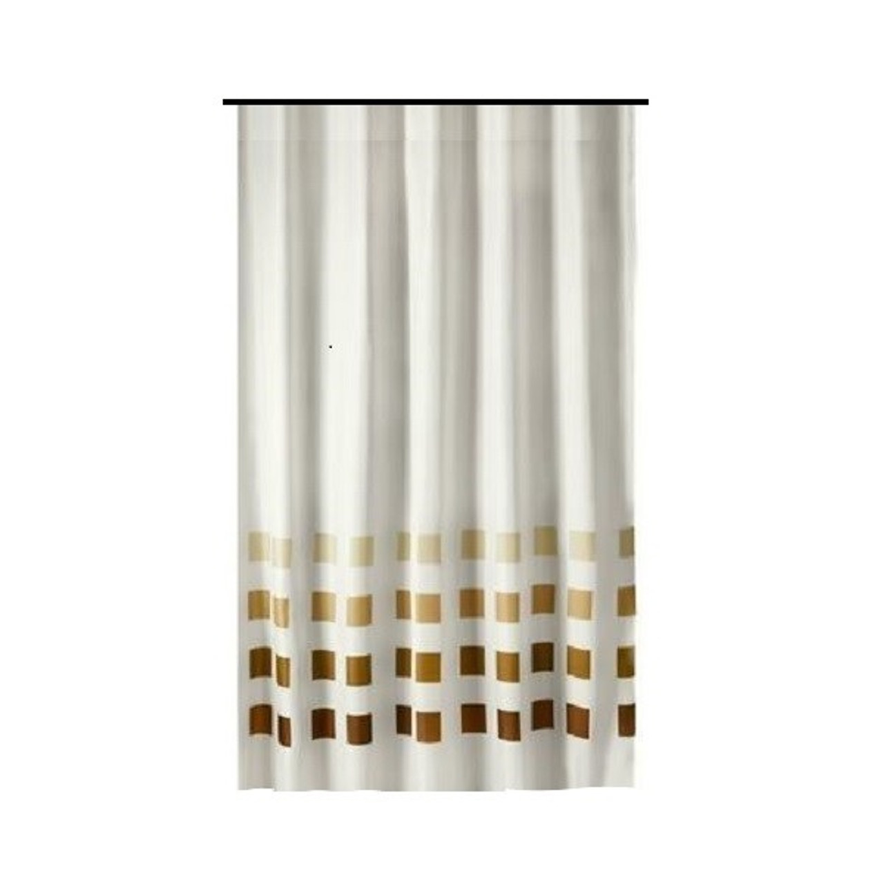 extra long shower curtain 72 x 78 inch gamma white with brown squares fabric