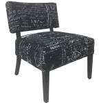 Premium French Provincial Accent Chair 100 Natural Linen In Black Colour With White Writing Black Legs Milano Republic Furniture