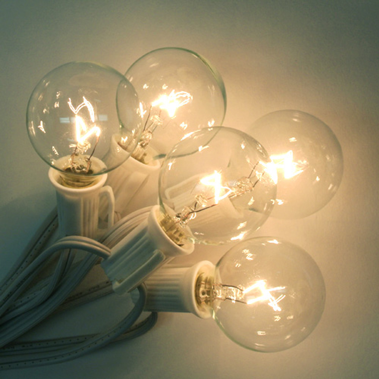 g40 25 string lights set clear w white cord