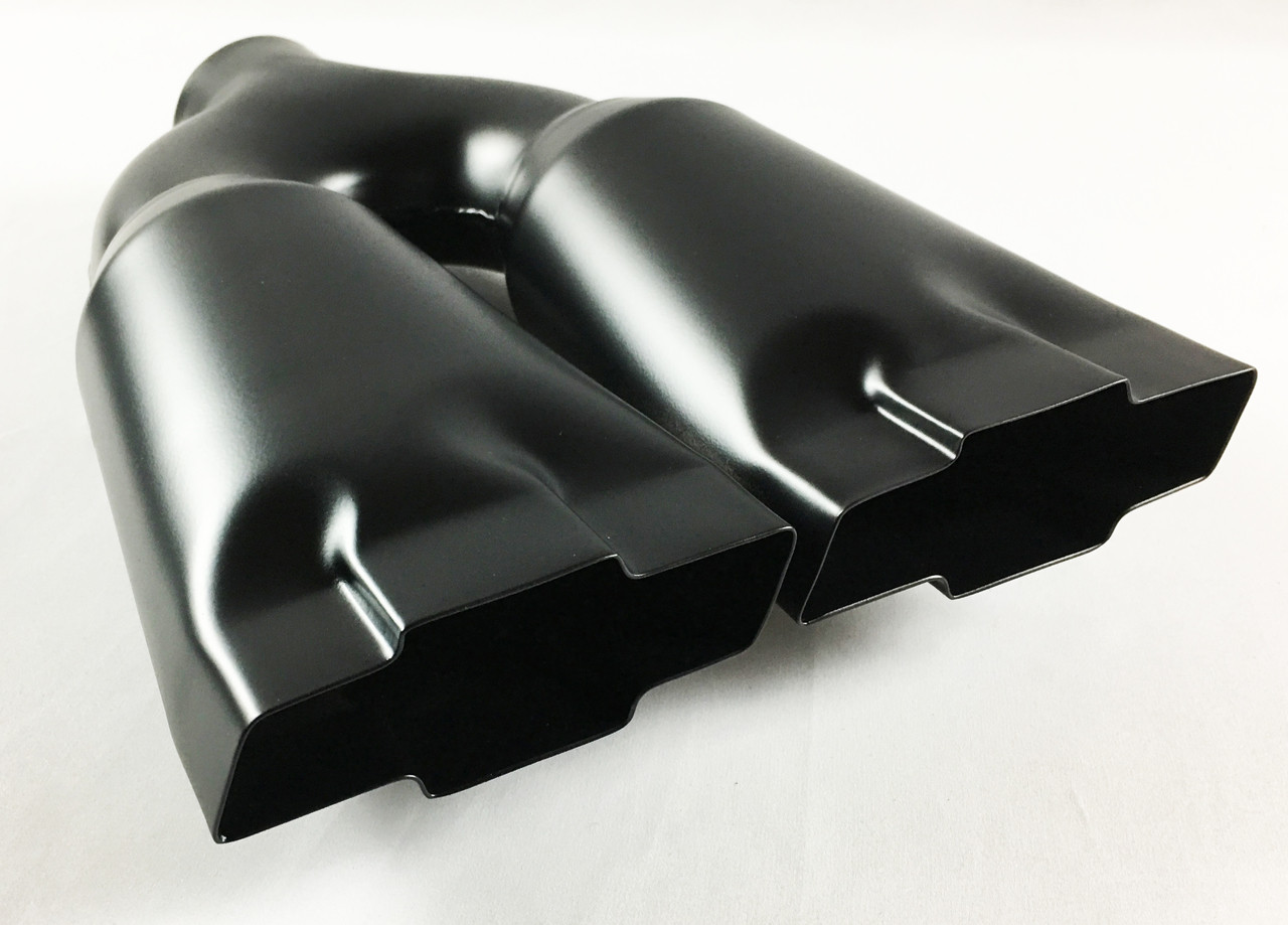 exhaust tip 2 25 inlet 4 75 outlet 13 75 long high temperature black dual chevy bowtie stainless wesdon exhaust tip