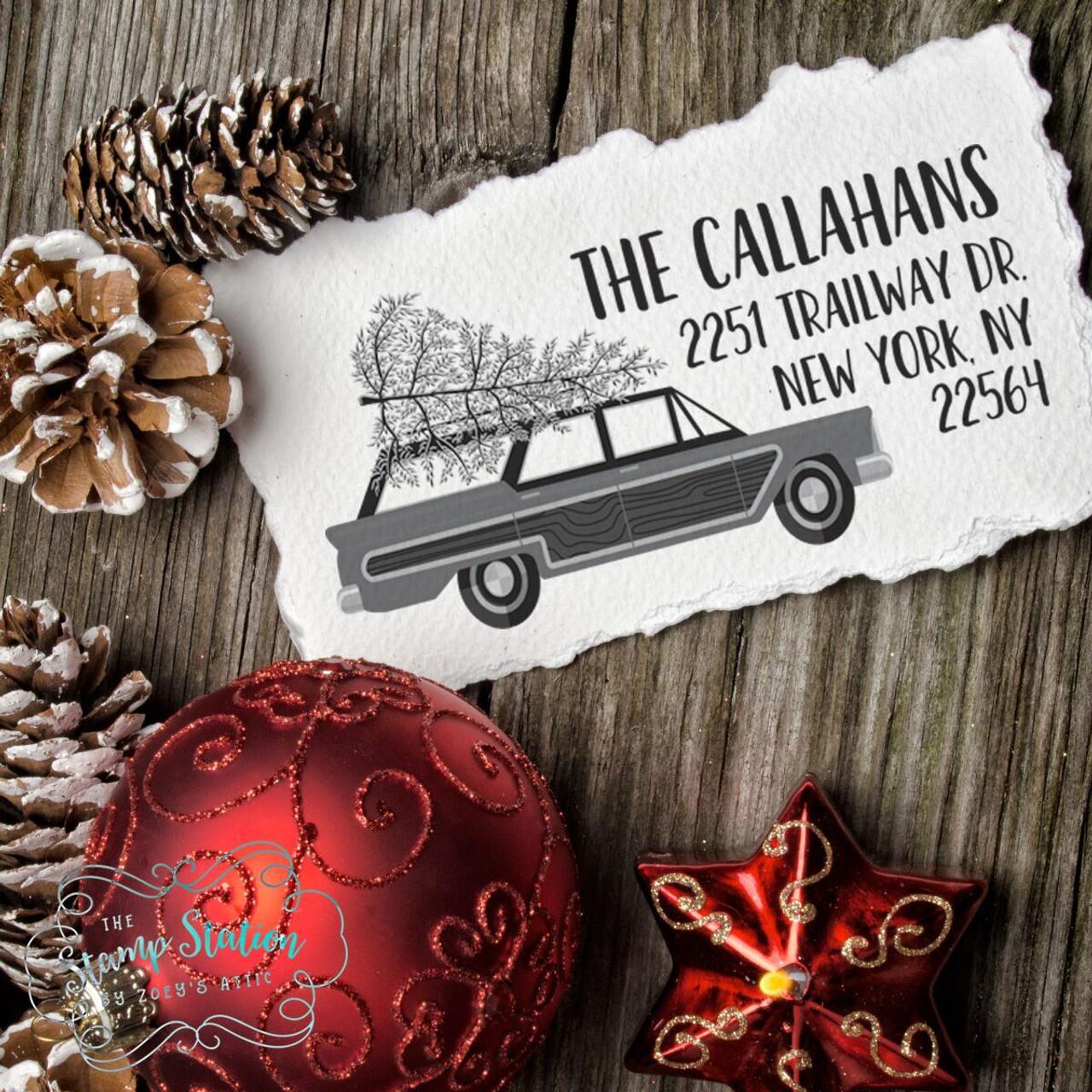 retro christmas station wagon