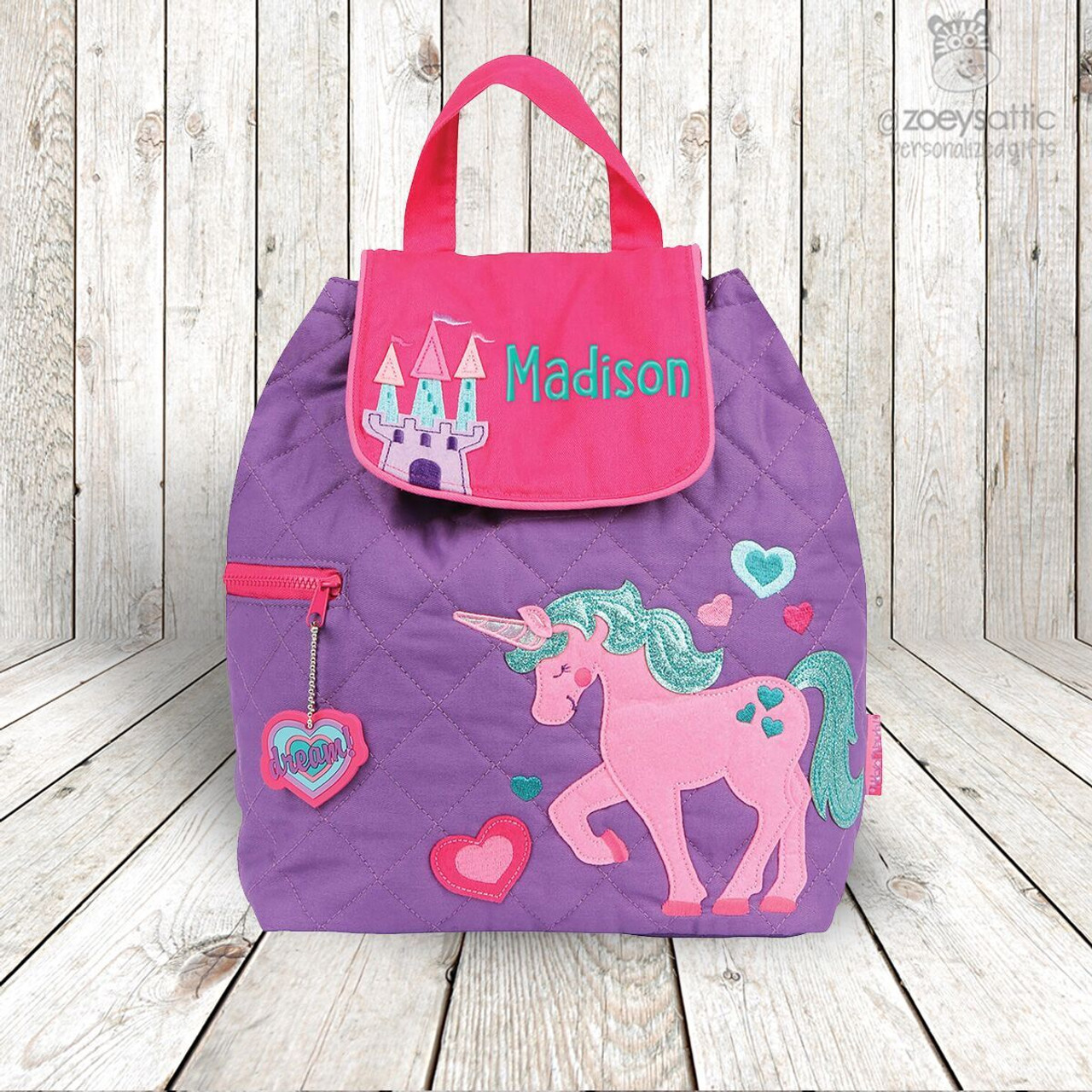 unicorn personalized embroidered quilted