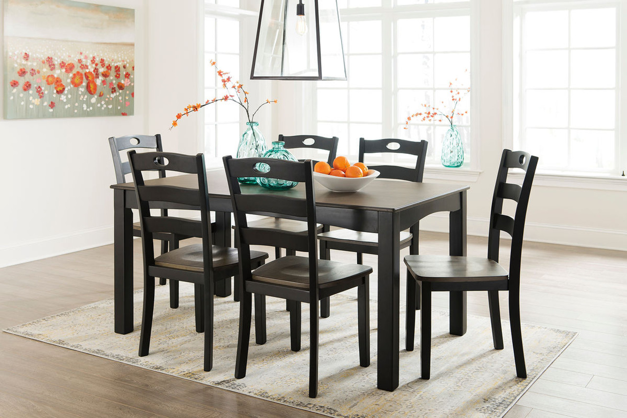 The Froshburg Grayish Brown Black 7 Pc Dining Set Available At Furniture Plus Serving Jacksonville Nc