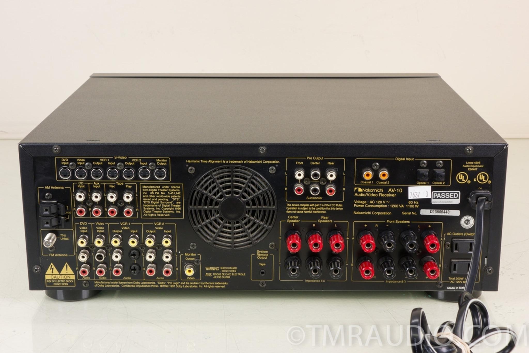 medium resolution of nakamichi av 10 5 1 channel 750 watt home theater stereo receiver