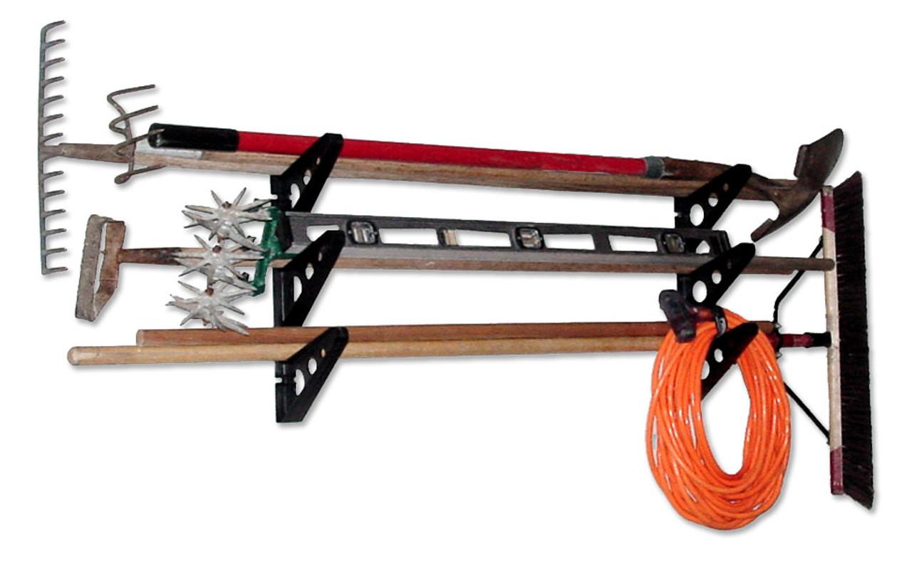 https www storeyourboard com garage tool storage rack trifecta rack yard tool organizer
