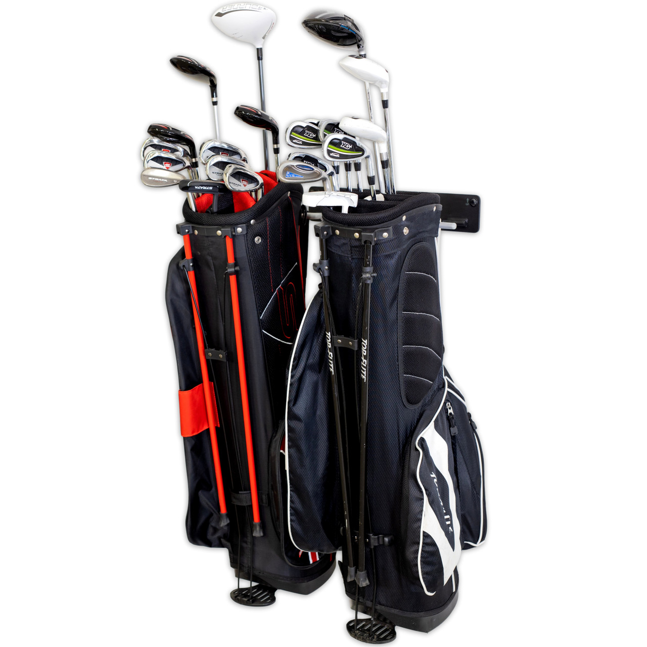 blat golf 2 bag wall rack garage home organizer heavy duty equipment storage