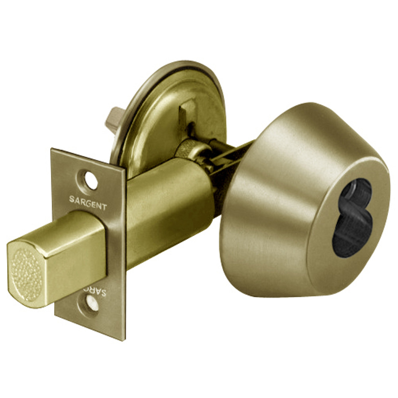 70 485 04 sargent 480 series single cylinder auxiliary deadbolt lock with thumbturn prepped for sfic in satin brass lock depot inc [ 1280 x 1280 Pixel ]
