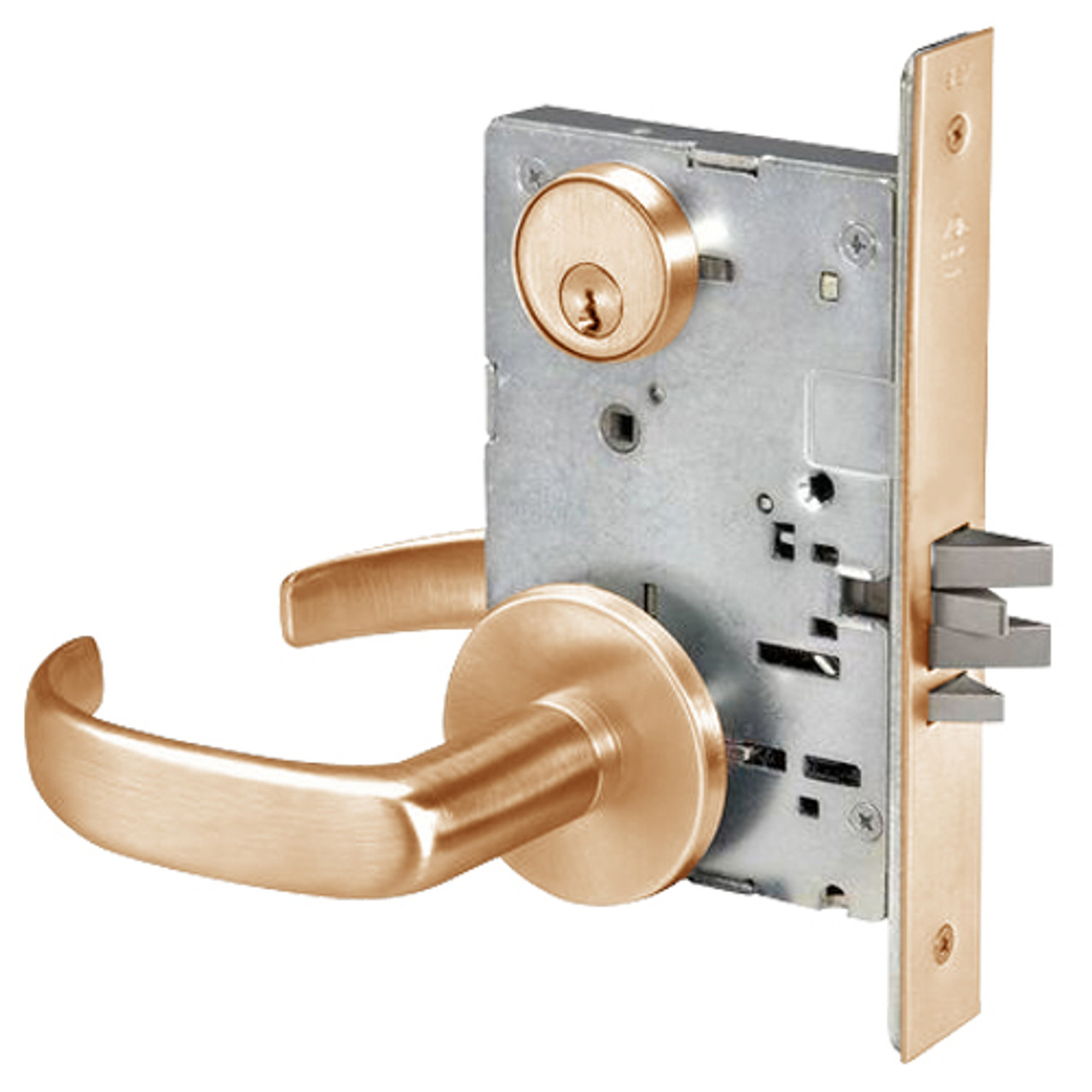 pbr8809fl 612 yale 8800fl series single cylinder mortise classroom w thumbturn locks with pacific beach lever in satin bronze lock depot inc [ 1280 x 1280 Pixel ]