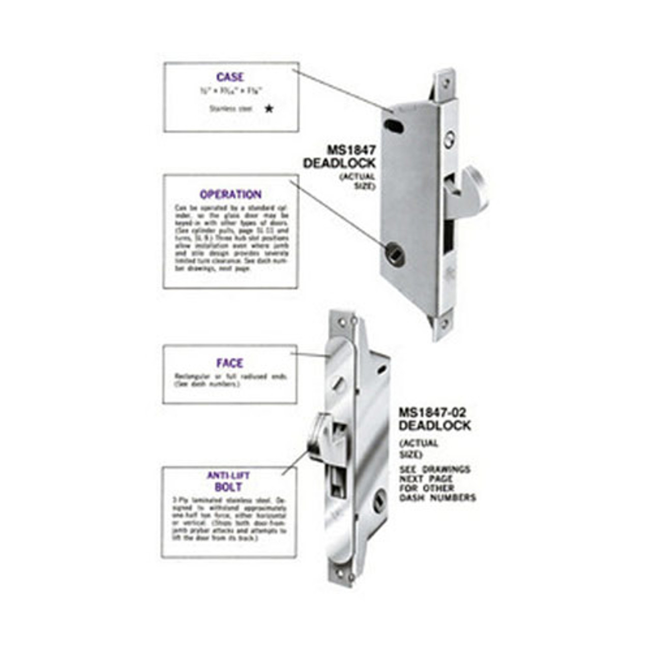 medium resolution of ms1847 11 630 adams rite ms deadlatch with radius faceplate for ultra narrow stile sliding doors in satin stainless lock depot inc