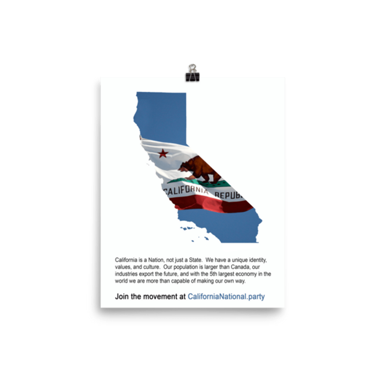 cnp california map and flag glossy poster