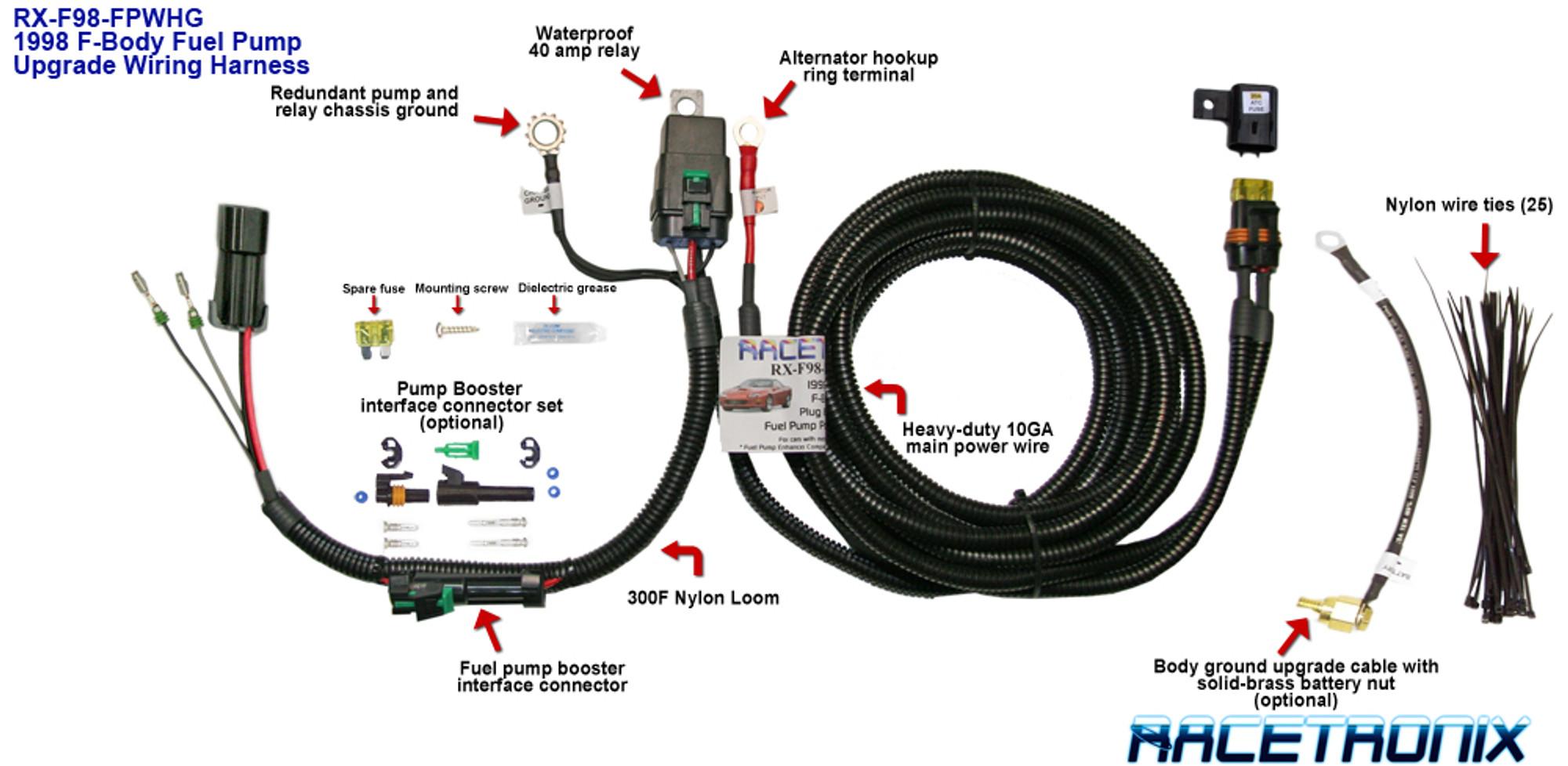 hight resolution of racetronix fuel pump kit metal tank 98 fbody tick performance inc racetronix fuel pump wiring harness install