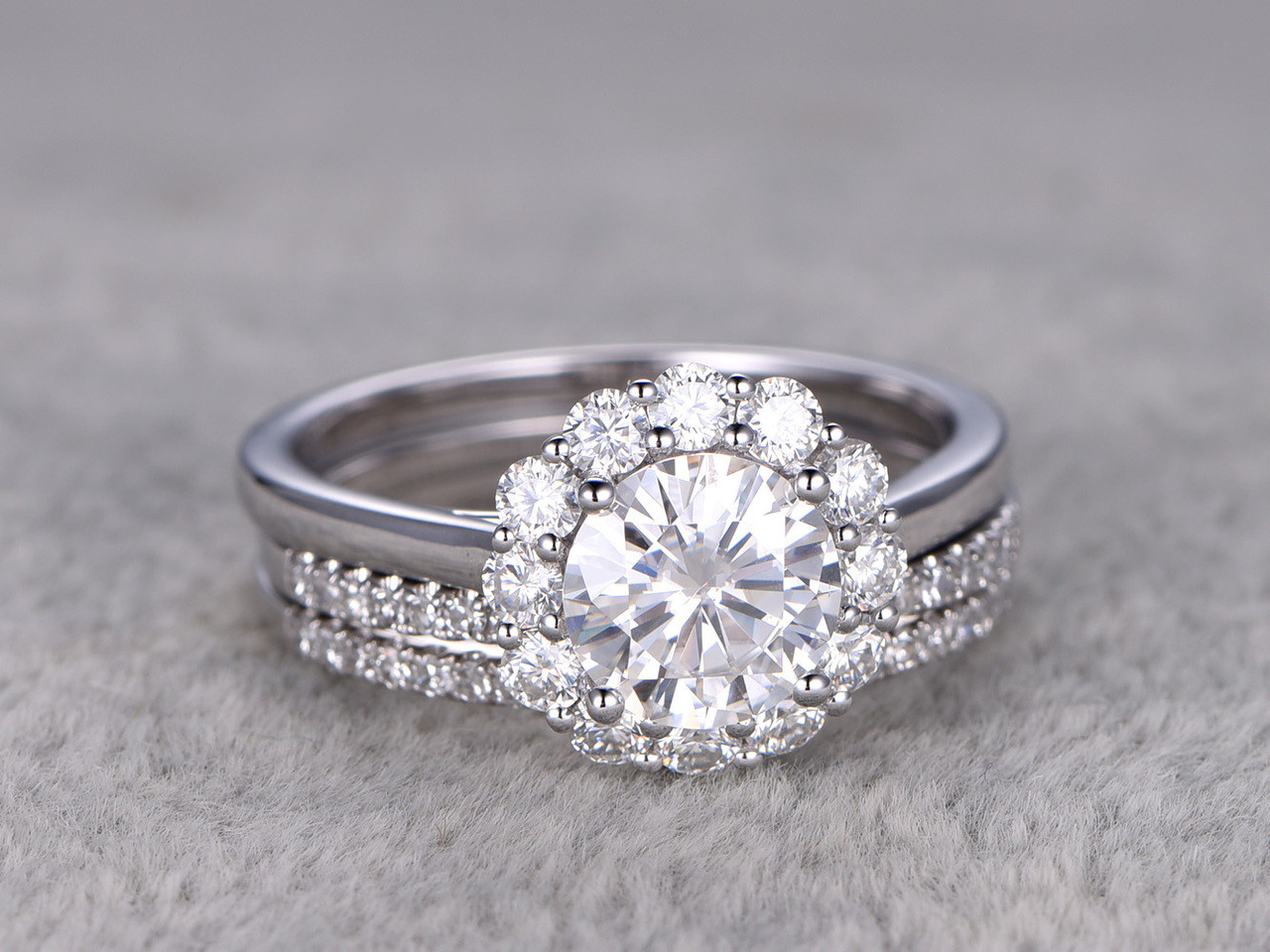 Flower Moissanite Wedding Ring Set Diamond Curved Matching Band White Gold Halo Thin Pave