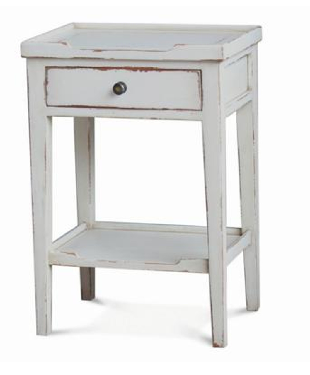 eton side table pearl white heavy distressed
