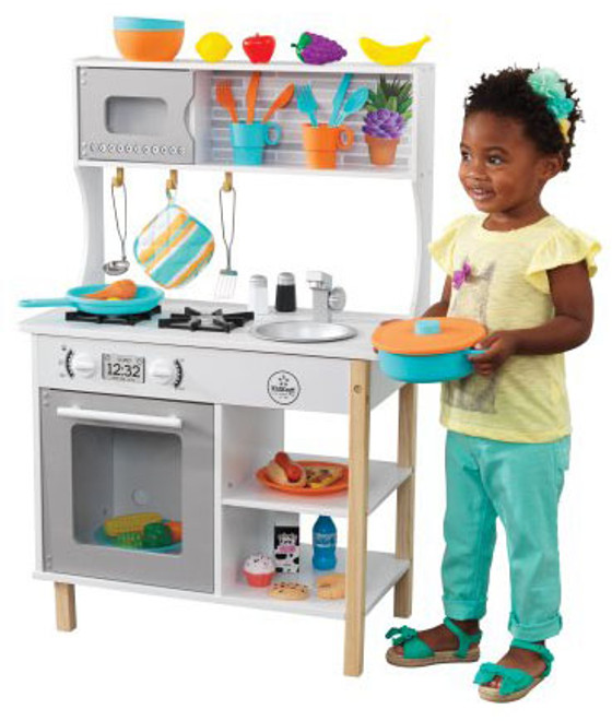 kidkraft toy kitchen how to make island all time play accessories on sale cheap prices kid playing