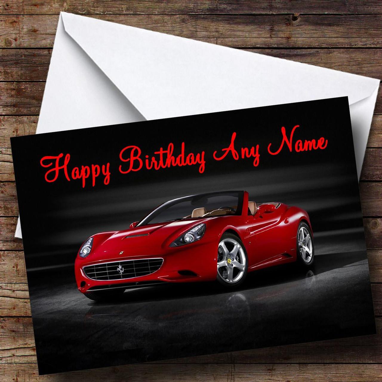 Red Ferrari California Personalised Birthday Card  The