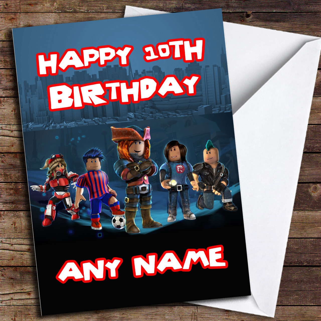 Blue Roblox Personalised Birthday Card  The Card Zoo