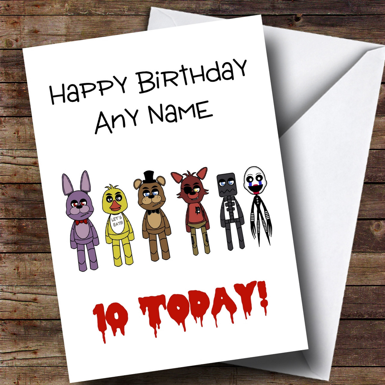 personalised five nights at freddy s fnaf children s birthday card