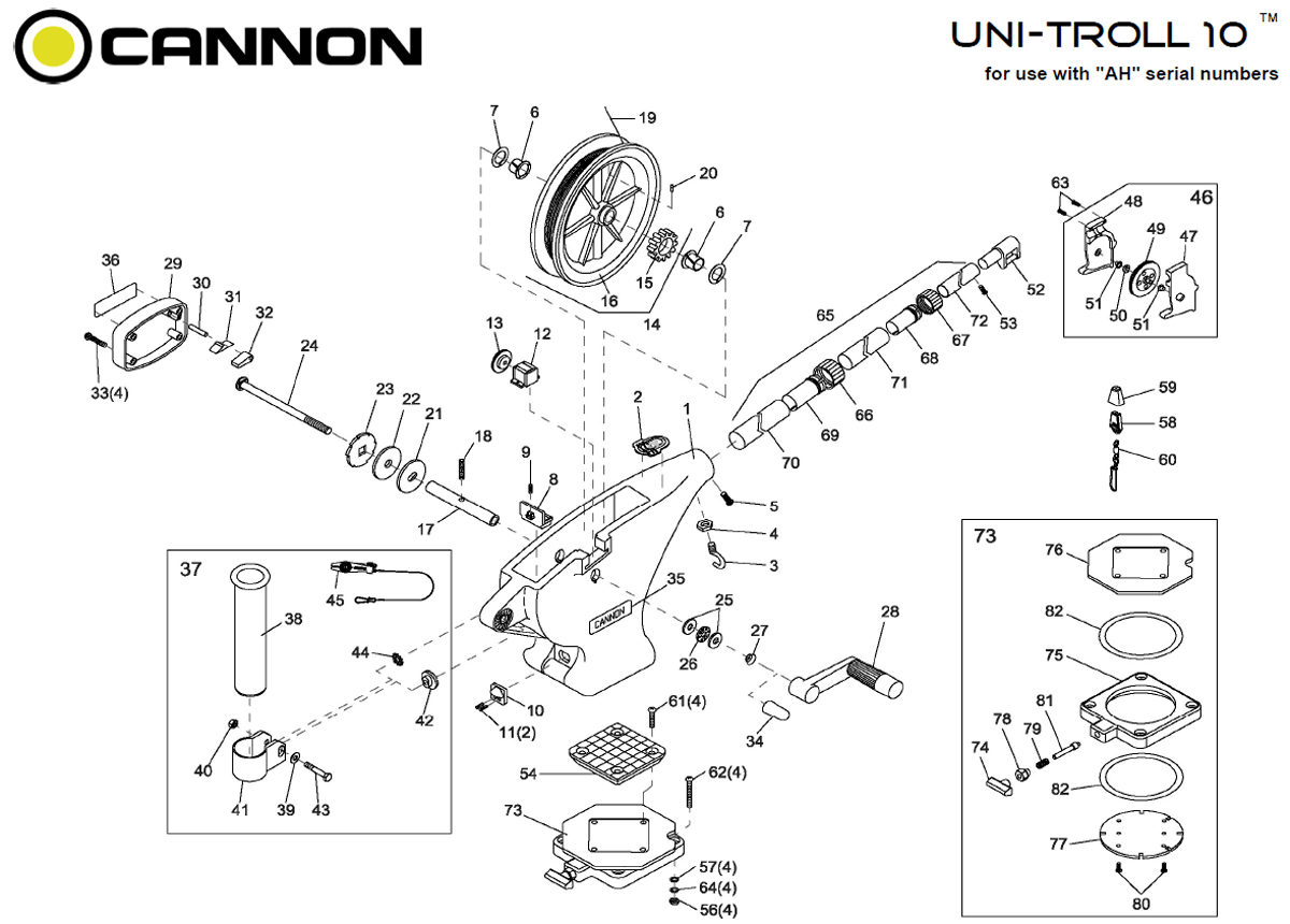Order Cannon Uni Troll 10 Manual Downrigger Parts From