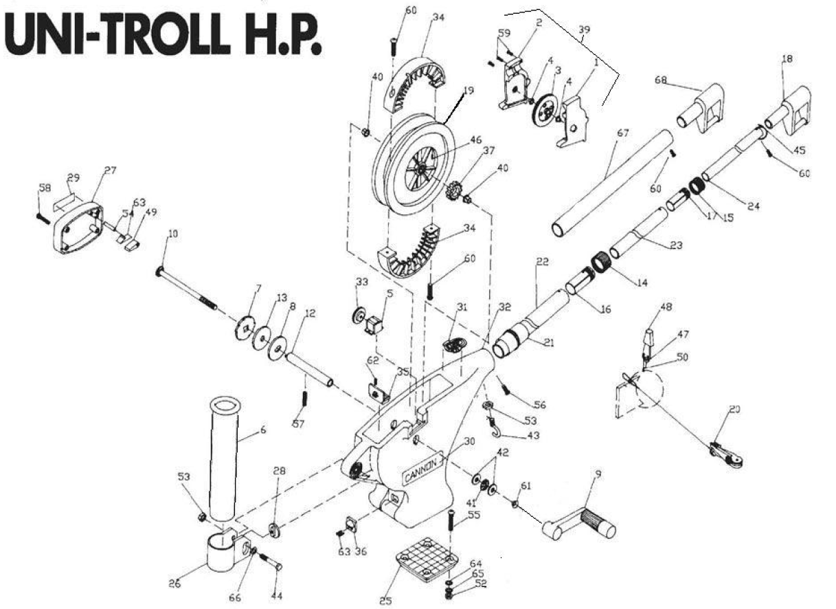 Order Cannon Uni-Troll HP manual downrigger parts from